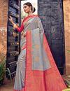 image of Grey Color Art Silk Fabric Weaving Work Puja Wear Fancy Saree
