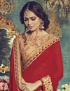 photo of Captivating Red Color Embroidered Party Wear Saree In Georgette Fabric