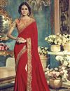 image of Captivating Red Color Embroidered Party Wear Saree In Georgette Fabric