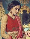 photo of Comforting Georgette Fabric Embroidered Saree In Pink And Cream Color