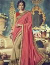 image of Comforting Georgette Fabric Embroidered Saree In Pink And Cream Color