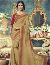 image of Lovely Cream Color Party Wear Saree With Embroidery Work