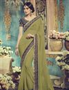 image of Pleasing Mehendi Green Color Party Wear Georgette Saree With Designer Georgette Blouse