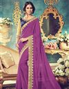 image of Captivating Purple Color Embroidered Party Wear Saree In Georgette Fabric