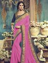 image of Comforting Georgette Fabric Embroidered Saree In Pink Color