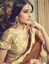 photo of Lovely Brown Color Party Wear Saree With Embroidery Work