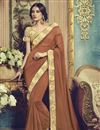 image of Lovely Brown Color Party Wear Saree With Embroidery Work