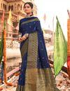 image of Navy Blue Party Wear Art Silk Fabric Weaving Work Saree