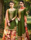 image of Tremendous Green Color Cotton And Satin Designer Party Wear Salwar Suit With Embroidery Work