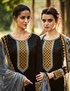 photo of Startling Black Color Designer Cotton And Satin Embroidered Party Wear Salwar Kameez