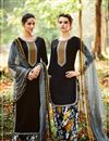 image of Startling Black Color Designer Cotton And Satin Embroidered Party Wear Salwar Kameez