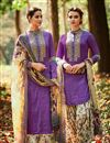 image of Attractive Purple Color Designer Salwar Suit In Cotton And Satin Fabric With Embroidery Work
