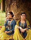 photo of Blue Color Superbly Designed Cotton And Satin Embroidery Work Party Wear Salwar Kameez
