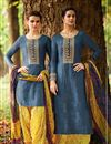 image of Blue Color Superbly Designed Cotton And Satin Embroidery Work Party Wear Salwar Kameez