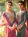 photo of Tremendous Grey Color Cotton And Satin Designer Party Wear Salwar Suit With Embroidery Work