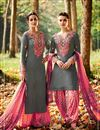 image of Tremendous Grey Color Cotton And Satin Designer Party Wear Salwar Suit With Embroidery Work
