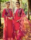 image of Tremendous Pink Color Cotton And Satin Designer Party Wear Salwar Kameez With Embroidery Work
