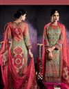 image of Digital Print Mehendi Green Color Tussar Silk Fabric Casual Wear Straight Cut Digital Print Dress