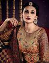 photo of Casual Style Beige Color Tussar Silk Fabric Digital Print Straight Cut Salwar Kameez