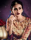 photo of Casual Style Beige Color Tussar Silk Digital Print Straight Cut Salwar Kameez
