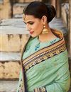 photo of Delightful Embroidered Cyan Color Designer Saree In Silk Fabric