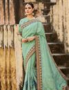 image of Delightful Embroidered Cyan Color Designer Saree In Silk Fabric