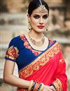 photo of Red And Blue Color Beautifully Embroidered Designer Festive Wear Saree
