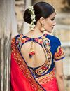 picture of Red And Blue Color Beautifully Embroidered Designer Festive Wear Saree