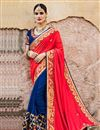 image of Red And Blue Color Beautifully Embroidered Designer Festive Wear Saree