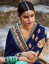 photo of Designer Party Wear Blue And Cyan Color Embroidered Saree In Silk Fabric