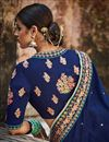 picture of Designer Party Wear Blue And Cyan Color Embroidered Saree In Silk Fabric