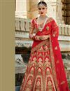 image of Red Color Spectacular 3 Piece Bridal Wear Lehenga