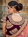 photo of Brown Color Comforting Velvet Bridal Lehenga
