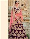 image of Brown Color Comforting Velvet Bridal Lehenga