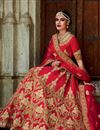 image of Red Color Silk Designer Lehenga Choli