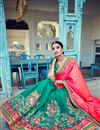 photo of Stunning Teal And Pink Designer Silk And Jacquard Saree With Embroidery Work
