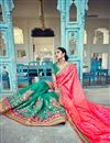 picture of Stunning Teal And Pink Designer Silk And Jacquard Saree With Embroidery Work