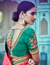 photograph of Stunning Teal And Pink Designer Silk And Jacquard Saree With Embroidery Work