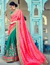 image of Stunning Teal And Pink Designer Silk And Jacquard Saree With Embroidery Work