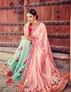 photo of Wedding Wear Pink And Cyan Color Designer Silk And Net Saree With Embroidery Work