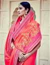 photo of Peach Color Festive Wear Silk Embroidered Designer Saree