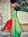 photo of Festive Wear Embroidered Designer Silk Saree In Green And Red Color