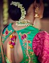 photograph of Magnificent Silk Embroidered Teal And Pink Color Saree With Designer Banarasi And Viscose Blouse