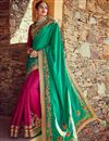 image of Magnificent Silk Embroidered Teal And Pink Color Saree With Designer Banarasi And Viscose Blouse