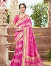 image of Pink Color Festive Wear Fancy Fabric Saree With Attractive Embroidered Border Work