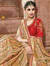 photo of Golden Color Festive Wear Fancy Fabric Saree With Attractive Embroidered Border Work