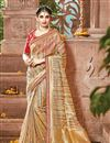 image of Golden Color Festive Wear Fancy Fabric Saree With Attractive Embroidered Border Work