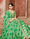 photo of Fancy Fabric Green Color Party Wear Saree With Unstitched Designer Blouse