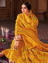 photo of Banarasi Style Art Silk Puja Wear Mustard Color Weaving Work Saree