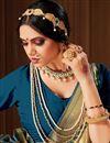 photo of Puja Wear Banarasi Style Art Silk Weaving Work Saree In Teal Color